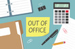 out of office written on yellow sticky note - vector illustration