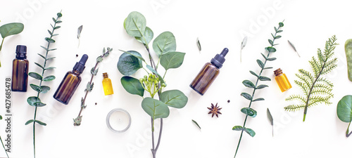 Natural organic cosmetic flat lay. Home spa concept.Organic bio cosmetics with herbal ingredients. Natural oils for skin care.Spa still life copy space. Wellness skin care background mockup - fototapety na wymiar