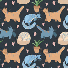 Seamless Pattern With Happy Cartoon Cats On A Dark Background