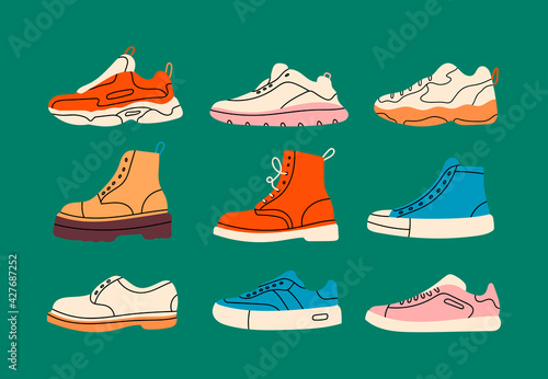 Obraz Various Shoes icons collection. Boots, sport shoes, sneaker, hiking footwear and other shoes for training. Men's and women's footwear. Hand drawn Vector illustrations. All elements are isolated - fototapety do salonu