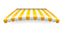 Yellow Shop Sunshade Isolated On White Background. Realistic Striped Cafe Awning. Outdoor Market Tent. Roof Canopy. Summer Street Store. Vector Illustration.