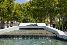 Fountain In Paseo De Cristina In Sevilla. The Fountain Is Dedicated To The Generacion Del 27, An Influential Group Of Poets That Arose In Spanish Between 1923 And 1927