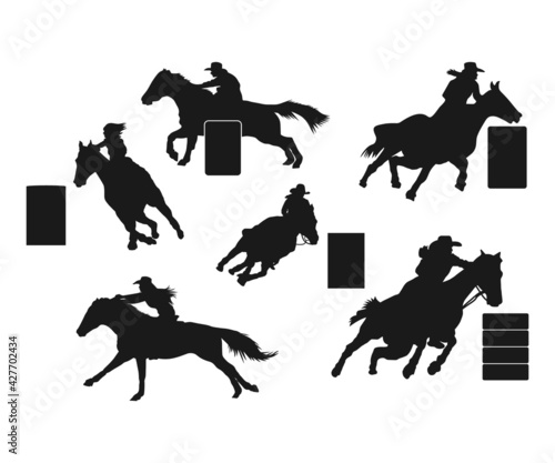 Tela Rodeo Barrel Racer SVG, Western Rodeo Svg, Cowgirl Silhouette, Barrel Racer Clip