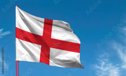 Fototapeta Flag of England against blue sky obraz