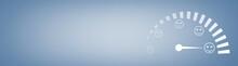 Customer Emotions Satisfaction Meter On Blue Background.