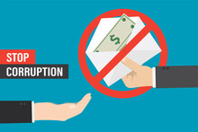 Stop Bribery And Corruption, Concept. Hand Gives Envelope With Banknotes, Other Empty Hand Want Money.
