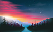 Night Road Through Forest And Mountains Red And Blue Night Sky And Sunset Landscape, Vector Illustration.