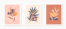 Set Of Mid Century Modern Abstract Vector Illustrations With Organic Shapes And Leaves.Minimalist Art Prints.Trendy Artistic Designs Perfect For Banners;social Media,invitations,covers,wall Art Decor
