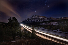 The Trans Canada Hwy Near Banff At Night - Long Exposure