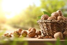 Basket Full Of Walnuts On Table In Walnut Field