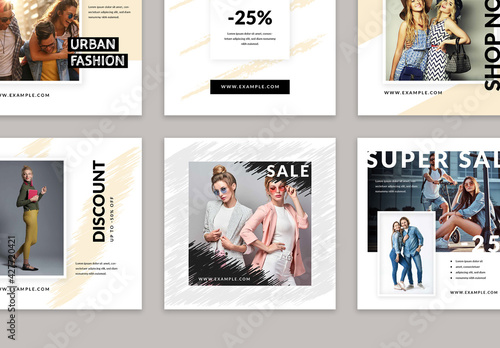 Modern Social Media Layouts with Artistic Design Elements