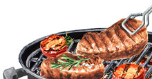Grilled Meat Steakes With Vegetables On Barbecue Grill . Watercolor Hand Drawn Illustration, Isolated On White Background