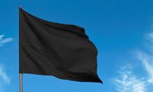 Blank Fabric Black Flag, Mourning Flag Against Blue Sky