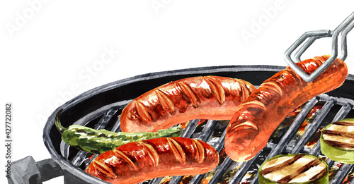 Valokuva Grilled sausages with vegetables on barbecue grill