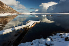 View Of Pier In Lake Against Sky