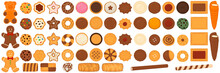 Illustration On Theme Big Set Different Biscuit, Kit Colorful Cookie