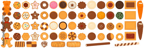 Illustration on theme big set different biscuit, kit colorful cookie - fototapety na wymiar