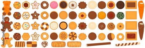 Papel de parede Illustration on theme big set different biscuit, kit colorful cookie