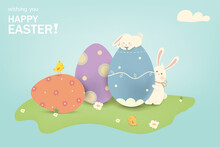 Happy Easter. Easter Rabbit Bunny With Eggs, Grass, Flowers In Field. Cute Cartoon Rabbit Character With Chicken, Paschal Egg. Design Template For Banner, Flyer, Invitation, Greeting Card, Poster.