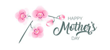 Happy Mother's Day Background With Flowers. Orchid Vector. Elegant Banner Greeting Card.