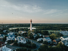High Angle View Of Lighthouse And Buildings Against Sky. Cape May New Jersey Lighthouse