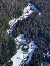 Scenic View Of Snowcapped Mountains Above The Peak 2 Peak Gondola In Whistler Blackcomb Ski Resort