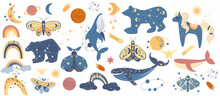 Modern Vector Hand Drawn Boho Sky Collection With Cute Planet, Moon, Cloud, Rainbow, Star, Whale, Unicorn, Butterfly, Bear For Kids Room Decoration Or Posters, Cards, Invites. Flat Vector Illustration