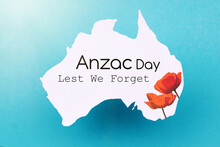 Anzac Day - Australian And New Zealand National Public Holiday, Australian Flag And Poppy Flowers Memorial Background