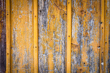 Old Wooden Background With Old Orange Paint