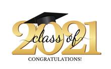 Graduation Condratulations Class Of 2021 With Graduation Cap Hat. Vector Illustration
