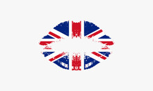 Lips Kiss With Flag English Vector Illustration.