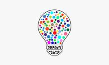 Dots On Lightbulb Vector Illustration. Design Concept.