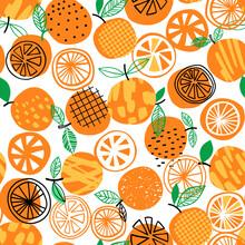 Orange Seamless Pattern Vector Illustration. Summer Fruit Design