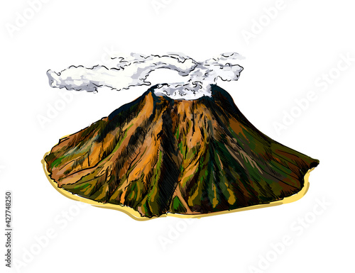 Stampa su Tela Volcano from a splash of watercolor, colored drawing, realistic