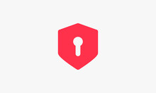 Lock Key Shield. Security Design Concept. Vector Illustration.