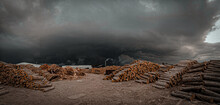 Panoramic Shot Of Logs On Land Against Sky