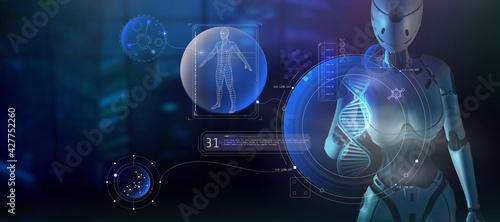 Alien artificial intelligence studies the human structure. 3D render