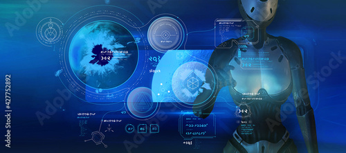 Fotografia, Obraz Fantastic poster with alien infographics and humanoid robot