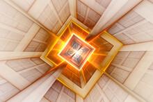 A Neon Green Kaleidoscope Square Shape Pattern Background