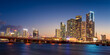 Miami City Skyline and MacArthur Causeway at Night, Florida