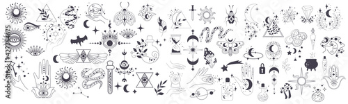 Fototapeta Mystic items, moon, hands, crystals, planets. Doodle astrology style. Doodle esoteric, boho mystical hand drawn elements. Magic and witchcraft. Vector illustration obraz