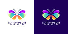 Colorful Awesome Butterfly Logo Gradient