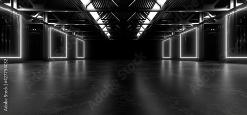 Fotografie, Obraz A dark hall lit by white neon lights
