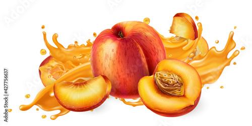 Splash of fruit juice and fresh peaches.