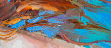 .Embossed Pasty Oil Paints And Reliefs. Primary Colors: Blue, Black, Orange. Abstract Art. Mix Of Paints.