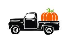 Pumpkin Truck Vector, Fall Vintage Truck With Pumpkin Illustration