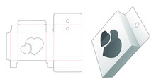 Hanging Tin Box With 2 Heart Windows Die Cut Template