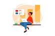 Woman Working On Sales Marketing Illustration concept. Flat illustration isolated on white background.