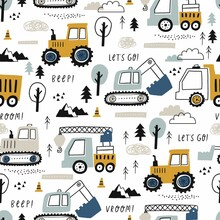 Hand Drawn Cute Cars - Truck, Tractor, Cargo Crane, Bulldozer, Excavator. Seamless Vector Pattern With Cute Cars For Fabric, Textile And Wallpaper Design. Vector Cars In Scandinavian Style