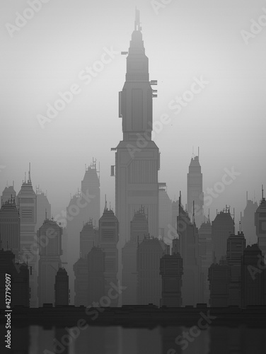 Photo Urban landscape, cyberpunk style, monochrome gloomy city on the shore